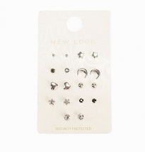 9 Pack Silver Mixed Mini Stud Earrings