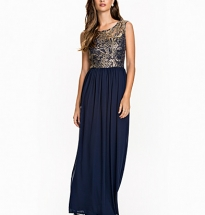 Metallic Brocade Crochet Maxi Dress