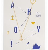 3D Anchor Necklace with card