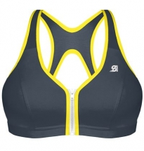 Shock Absorber - Active Zipped Plunge Bra Grey/Yellow